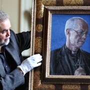 Artist Roger Wagner with his portrait of the Archbishop of Canterbury Justin Welby now hanging at Auckland Castle (1)