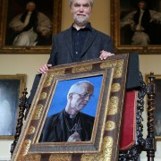 Artist Roger Wagner with his portrait of the Archbishop of Canterbury Justin Welby now hanging at Auckland Castle (2)
