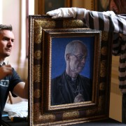 Portrait of Archbishop of Canterbury Justin Welby by Roger Wagner now hanging at Auckland Castle