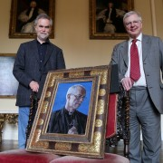 (l-r) Artist Roger Wagner, chair of the Auckland Castle Trust Jonathan Ruffer who commissioned the portrait of the Archbishop of Canterbury, Justin Welby (1)
