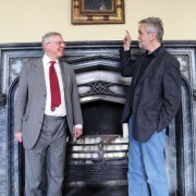 (l-r) Jonthan Ruffer of the Auckland Castle Trust who commissioned the portrait of the Archbishop of Canterbury now hanging at Auckland Castle with the artist Roger Wagner